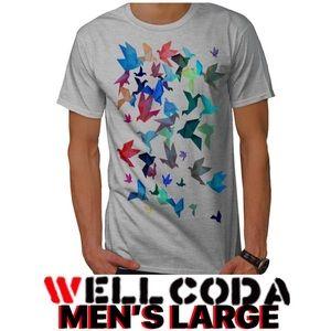 Summer Origami Men's Large Gray T Shirt V Neck Lit
